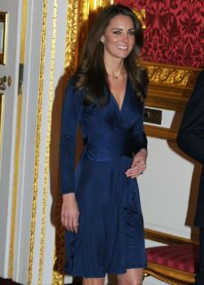 Issa London Blue Royal Engagement V Neck Long Sleeve Silk Wrap Dress