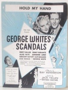 1934 George Whites Scandals Sheet Alice Faye Hold My