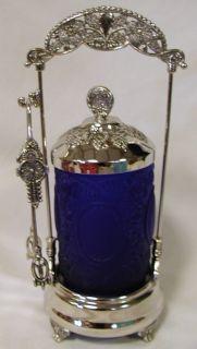Style Pickle Castor w/Cobalt Blue Satin Rose & Mirror Glass Insert