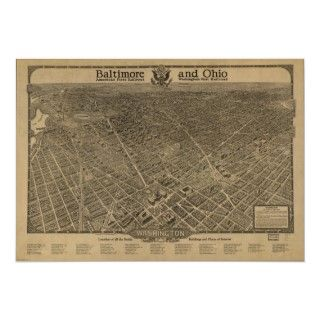 Washington DC 1860 Antique Panoramic Map Posters