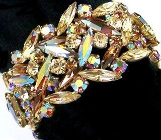 Sherman Topaz Citrine Aurora Borealis Crystals Rigid Cuff Bracelet