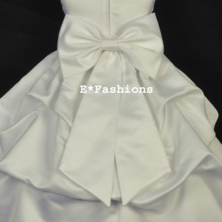 Ivory Satin Tie Bow Sash for Wedding Flower Girl Dress Sz s M L 2 4 6