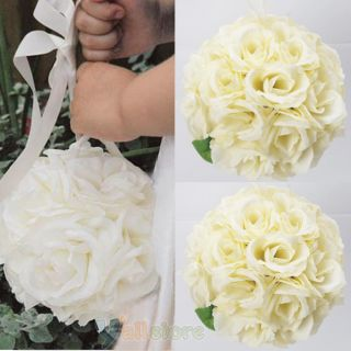 Ivory Silk Rose Kissing Ball Wedding Flower Decoration