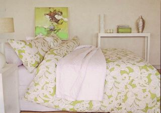 Green White Ivy Queen Quilt DOONA Cover Set Cotton New