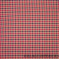 Americana Red Navy Blue Tan Plaid Queen Ruffle Bedskirt