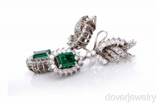Antique 8 18 Carat Diamond Green Emerald 18K Gold Drop Earrings