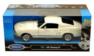 1967 Ford Mustang GT Hard Top 1 24 Scale Diecast Model Car Cream Welly