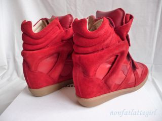 Isabel Marant Bekett Bazil Red Suede Basket Wedge Sneakers 38 Sold Out