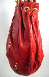 Isabella Fiore Red Hot Stud Shoulder Handbag $695