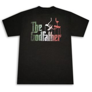 The Godfather Italian Colors Logo Black Graphic Tee Shirt
