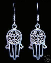 Fatima Real Sterling Silver 925 Earrings Islam Allah Islamic Jewelry