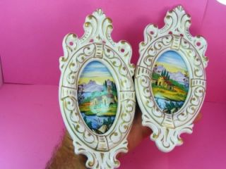 Lot 2 Antique Hand Painted Porcelain Italy Wall Plaques Tiles