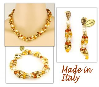 Italian Made Venetian Murano Jewelry Set Necklace Earrings Bracelet