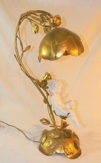 The Best Italian Gold Toleware Table Lamp w Roses Flower Shade w