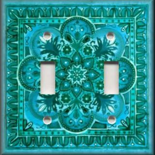 Light Switch Plate Cover Italian Tile Pattern Fiore Turquoise Blue
