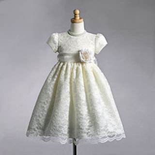 Stunning Ivory Lace Christening Flower Girl Dress w Flower Crayon Kids