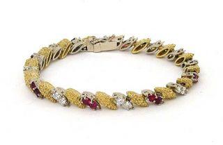 Two Tone 18K Gold 5 Carats Diamonds Rubies Bracelet