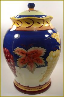 COLORFUL LARGE ITALIAN BISCOTTI CERAMIC COOKIE JAR, MINT COND. VERY