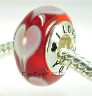 HoneyBeeBeads Red Heart I Love You Authentic Murano Bead Charm   WJ
