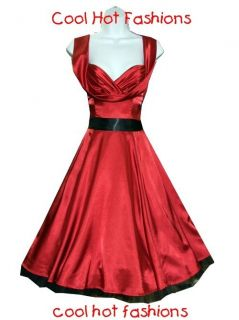 Red Satin Swing Marilyn 40s 50s Pinup Rockabilly Retro Vintage Style
