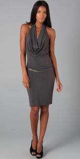 Haute Hippie Halter Cowl Neck Dress with Chain Belt