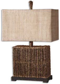 Natural Palm Branches Rustic Bronze Foot Table Lamp