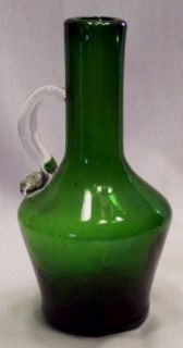 Vintage Hand Blown Forest Green Handled Pitcher 5 1 2