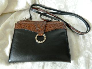 Jack Georges Leather Black & Brown Cicilia String Wallet w/Shoulder