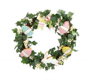 SPRING Easter Egg, Cookie, Bunny and Ivy Wreath DOOR DECOR by VALERIE
