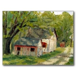 Chicken and Grain House Oil Landscape Painting Post Cards