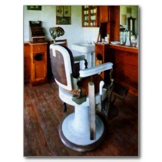 Old Fashioned Barber Chair Postcard