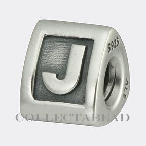 Authentic Pandora Sterling Silver J Initial Bead