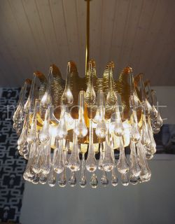 Murano Crystal Glass Teardrop Leaf Chandelier Italy 1970´S