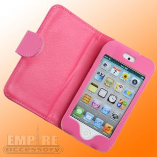 Hot Pink Leather Folding Case for Apple iPod Touch iTouch 4G 4th Gen