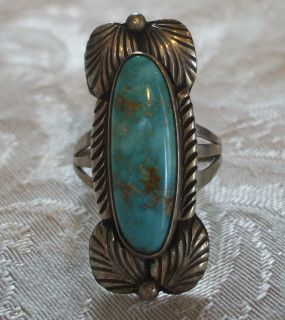 NAVAJO Sterling Silver & TURQUOISE RING size 7 1/2 signed THOMAS J