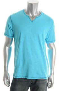 Inc New Blue Slub Short Sleeve Split Neck Casual Shirt T Shirt L BHFO