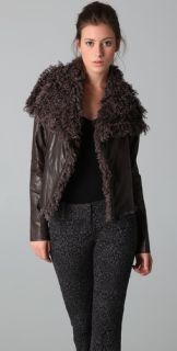 Georgie Faux Leather Mayra Jacket with Faux Fur Collar