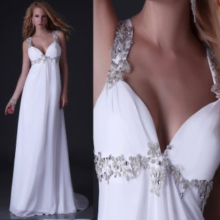New Stock White Ivor​y Chiffon Wedding Dress Bridal Gown Size 6 8 1