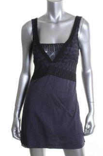 Free People New Navy Embroidered Sleeveless Shift Summer Casual Dress