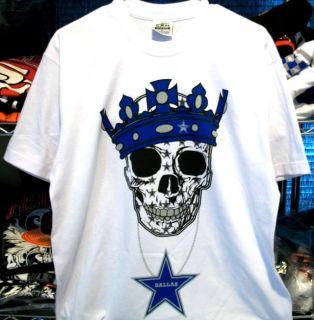 Dallas Cowboys Hip Hop MMA Skull T Shirt White Mens Jersey Gangster