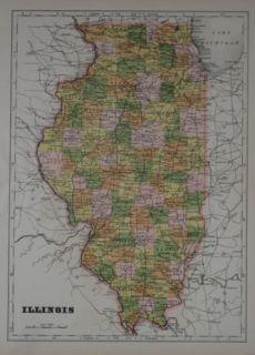1905 A J Johnson County Map Illinois Chicago Springfield Bloomington