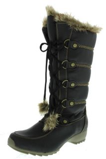 Sporto New Ivy Black Faux Fur Lace Up Waterproof Snow Boots Shoes 8