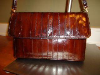RENEE Brown Vintage GENUINE EELSKIN Crossbody Shoulder bag Purse