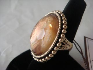 Stephen Dweck Oval Rock Crystal Mother of Pearl Bronze Bead Set Ring $