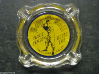 Vintage Baseball Jackie Jensen Row and Bell Ash Tray