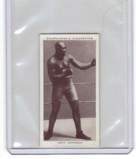 CHURCHMANS TOBACCO CIGARETTE CARD JACK JOHNSON 20 BOXING PERSONALITIES