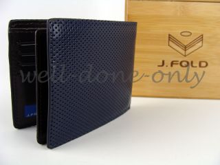 Fold Havana Navy Blue Microperf Passcase ID Slim Mens Leather Wallet