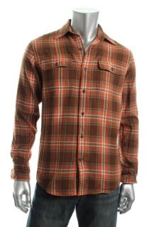 Timberland New Orange Plaid Flannel Long Sleeve Two Pocket Button Down
