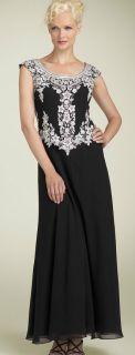 Kara Beaded Scalloped Mock 2 PC Chiffon Gown Dress 8 $198