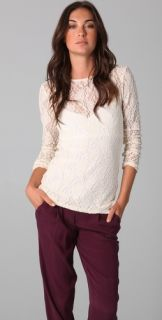 alice + olivia Baylor Long Sleeve Lace Tee